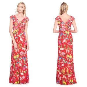 Tadashi Shoji Clara Floral Red Chiffon Gown